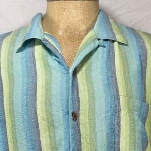 Tommy Bahama Button Down 100% Silk Striped
